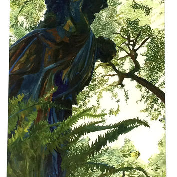 Pack of 10 Statue in a Forest Artist Print Postcard, Ten Art Nouveau Scenic Statue Postcards, 10 Pack Beautiful Garden Statue Postcard