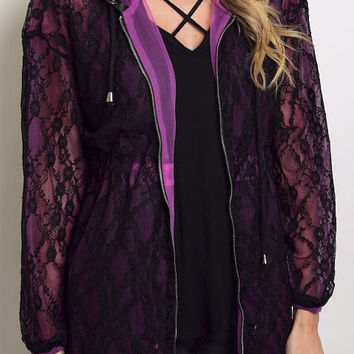 Long Sleeves All Over Lace with Full Lining Zip Pp Hoodie Jacket