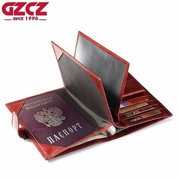 GZCZ Genuine Leather Women Wallet Female Passport Card Holder Walet Clamp For Money Coin Purse Clutch Small Vallet Portomonee