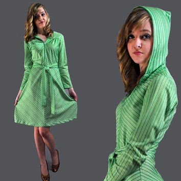 70s dress HOODED mini DRESS w/ chevron stripe by rockstreetvintage