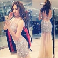 Robes De Crystal 2015 Luxury Sexy Women Evening Dresses Rhinestones Sheer Neckline Long Expensive Prom Gown Dubai Custom Size