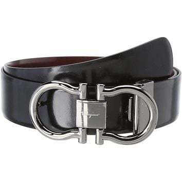 Salvatore Ferragamo Men's Adjustable/Reversible Belt Black Belt 46