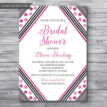 Bridal Shower Invitation, Wedding Shower, Abstract Black & White Stripe Bridal Shower Invite, pink bridal shower,Modern invite,DIY Printable