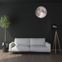 "24"" Moon in Space Wall Decal, Fabric Repositionable Matte Poster Decal"