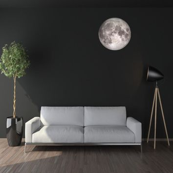 """24"""" Moon in Space Wall Decal, Fabric Repositionable Matte Poster Decal"""