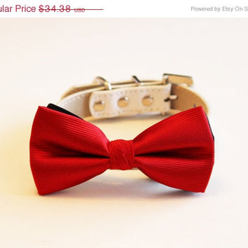Red Dog Bow tie - Christimas Gift, Valentine's Day, Wedding gift, Red dog collar, Red Bow