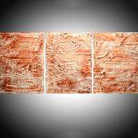 """ARTFINDER: triptych 3 panel wall art metallic finish copper white """" Copper Trance  """" antique effect 3 panel canvas wall abstract canvas 48 x 20"""" by Stuart Wright - """" Copper Trance """" impasto antique effect copper..."""