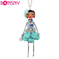 Bonsny Doll Necklace Dress Handmade Paris Doll Pendant trendy 2016 News  Alloy Girl Women Flower Fashion Jewelry Accessories