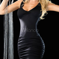 Sexy Club Dress Black Strappy Sleeveless Ruched Slim Fit Bodycon Dress
