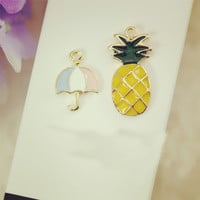 10pcs/lot pineapple floating Enamel Charms Alloy Pendant fit for necklaces bracelets DIY Female Fashion Jewelry Accessories