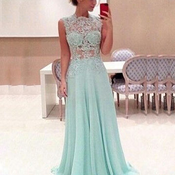 Vestidos De Festa 2015 Light Blue Prom Dresses Sheer Appliques Beaded Formal Long Prom Gowns Custom Made Bridesmaid Dresses