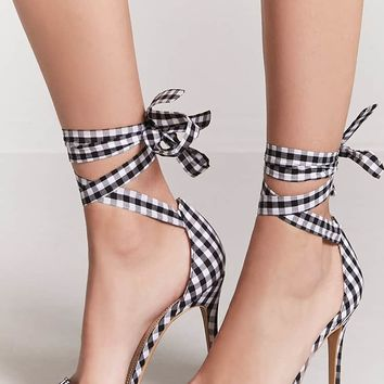 Gingham Ankle-Wrap Heels
