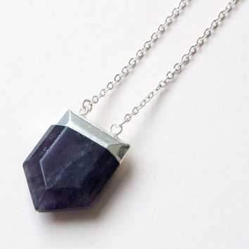 Polised Amethyst Necklace by The Little Deer