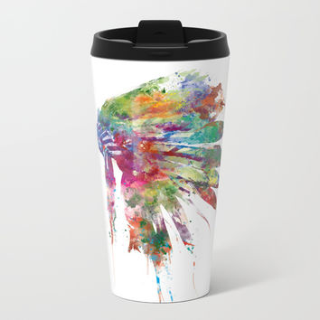 Headdress Metal Travel Mug by monnprint
