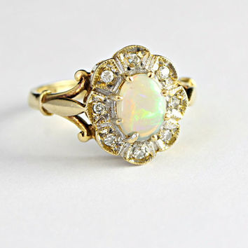 Diamond And Opal Engagement Ring In 9ct Gold Vintage 1980 S
