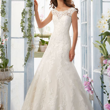 Embroidered Lace Appliques and Scalloped Hemline on Net Morilee Bridal Wedding Dress | Style 5410 | Morilee