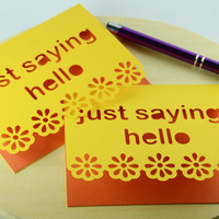 Orange Just saying hello blank notecards stationary teacher hostess gift invitations