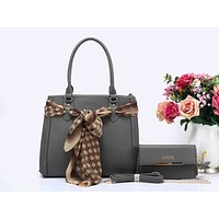 Gucci Stylish Ladies Shopping Bag Leather Satchel Bag Shoulder Bag Handbag Crossbody Set Two Piece Grey I-XS-PJ-BB