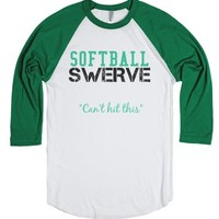Softball Swerve Green-Unisex White/Evergreen T-Shirt