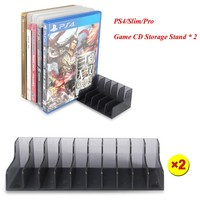 2 pcs/set PS4 Slim Pro Game accessories CD Discs Storage Bracket Holder for Son Playstation 4 PS4 Game Disk Stand