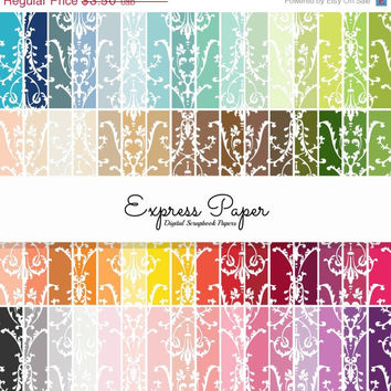 SALE 64 Damask Pattern Digital Papers- 12x12 and 8.5x11 included- Digital Paper Rainbow includes dark, bright, neutral and pastel colors.