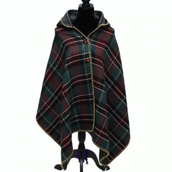Hot Sale Buttons Plaid Hooded Batwing Blanket Shawl Poncho Cape Scarf For Women