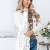 Hallmark Knit Button pocket Cardigan | Ivory