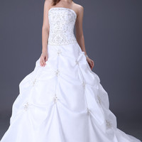 White Strapless Beaded Ruched Wedding Dress