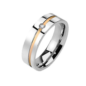 Prosperity - Couple's Stainless Steel Gold IP CZ Band