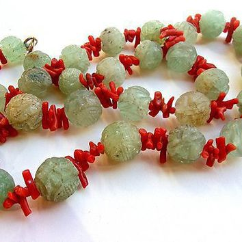 Shou Carved Jadeite Jade & Coral Necklace 12K GF Vintage