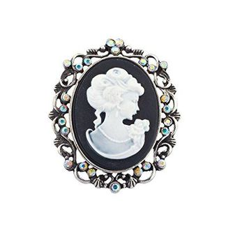 Lux Accessories Antique Vintage Cameo Brooch Burnished Metal Pave Stones