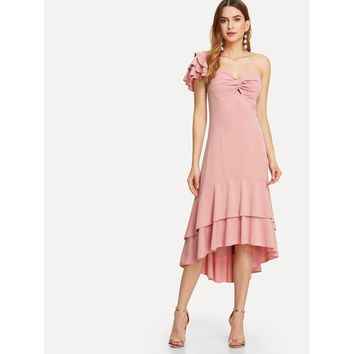 Pink One Shoulder Ruffle Hem Asymmetrical Dress