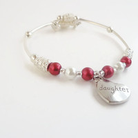 Valentines Day Daughter Bracelet ~Gift for daughter,Heart Jewelry for Valentines Day,Red and White Pearl Bracelet,Memory Wire Bracelet