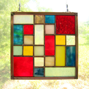 """Stained Glass Quilt Square 6"""" Random Pattern Appalachian Handmade Stained Glass Quilt Multi-Colored"""