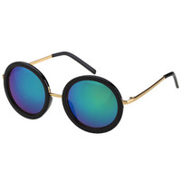 ROMWE | Round Blue Reflective Sunglasses, The Latest Street Fashion