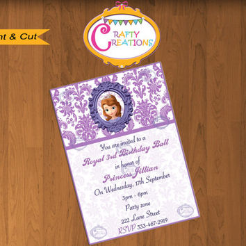 Sofia the First Party Invitation -Sofia the First Invite-Sofia the First Birthday Party Invitation Princess Sofia the First Printables Ideas