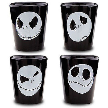 disney parks jack skellington set of 4 ceramic glass shot new with box