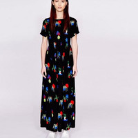 Black Floral Print Short-Sleeve Maxi Dress