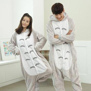 Wedtrend Cute Baymax Totoro Unisex Warm Flannel Hoodie Pajamas Costume Nightgowns Animal Onesuits Sleepwear For Adults Women Men