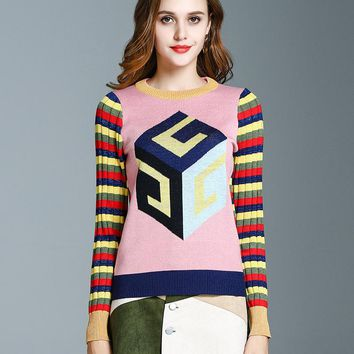 Autumn Winter Female New Geometric Jacquard Weave Rainbow Stripe Contrast Color Long-sleeved Cute Knit Sweater Jersey Coat