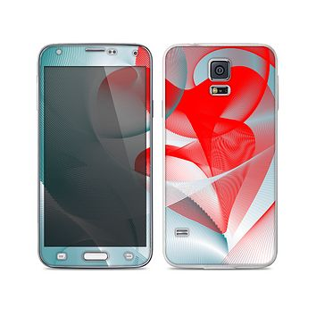 The Abstract Teal & Red Love Connect Skin For the Samsung Galaxy S5