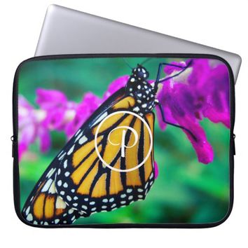 Butterfly photo custom monogram laptop sleeve