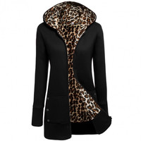 Women Fashion Outwear Hooded Long Sleeve Fleece Long Jacket Coat
