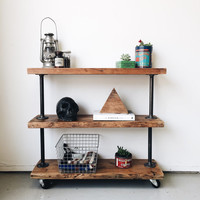 Rustic Industrial Reclaimed Wood Utility Book Shelf-3 Shelves