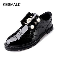 2017 Spring Shoes Woman Slip On Flats Patent Leather Brand Design Casual Women Brogue Shoes Platform Creepers SU1222143