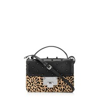 Leopard Print Lasered Cork on Black Mesh and Leather, with Crystal Studs, Cross Body Bag   Rebel   Spring Summer 15   JIMMY CHOO Bags