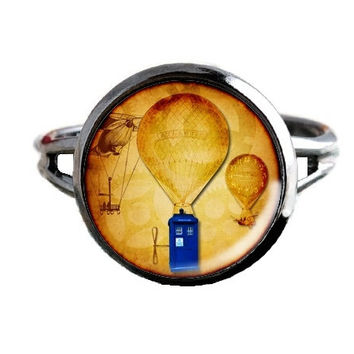 Dr Who Inspired Tardis Ring - Hot Air Balloons - Public Police Box Jewelry - Geeky Whovian