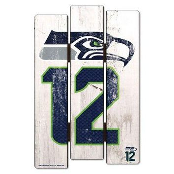 "SEATTLE SEAHAWKS 12TH MAN FENCE WOOD SIGN 11""X17'' BRAND NEW WINCRAFT"