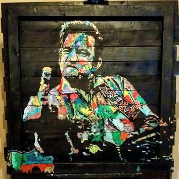 Reclaimed Wood Wall Art Pallet Art Johnny Cash Art by Matt Pecson Large Wall Art Large Wood Art Wall Decor Best Selling Items MADE TO ORDER