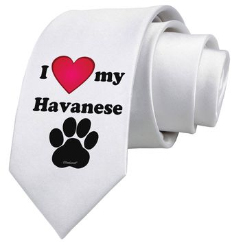 I Heart My Havanese Printed White Necktie by TooLoud